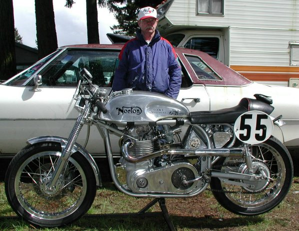 Les and his race bike