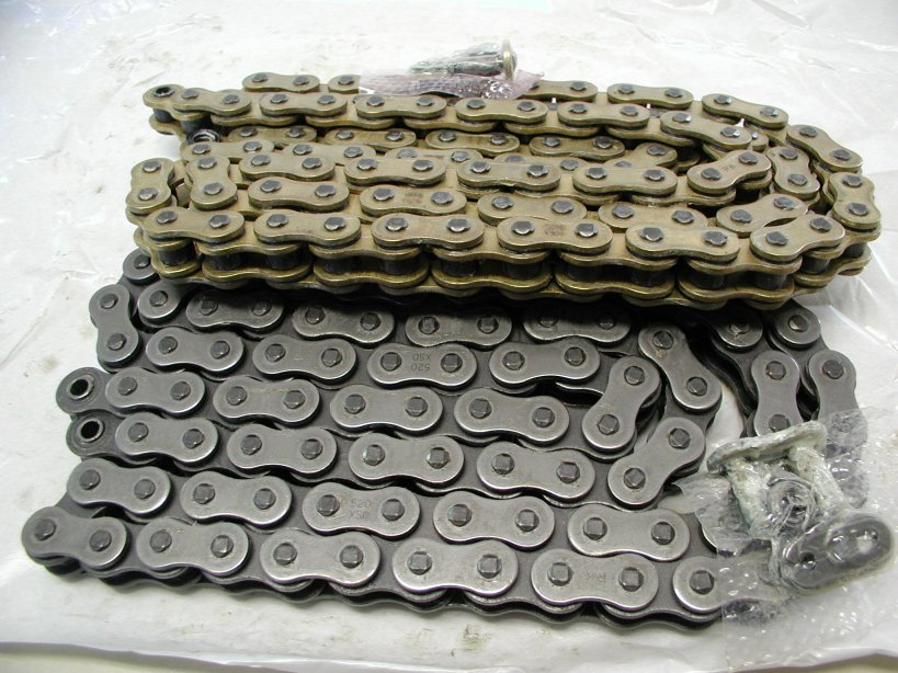 We stock two types of 520 o-ring chain, plain and gold.